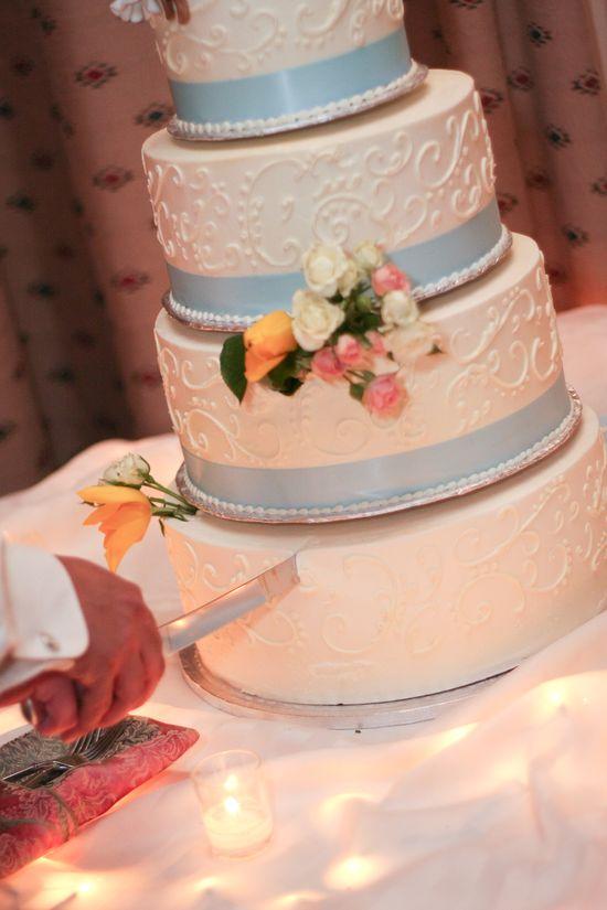 wedding cake   blue and yellow wedding  floral wedding cake