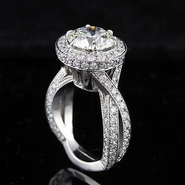 Diamond Platinum Vintage Style Micro Pave Engagement Ring Mounting. $6,000.00, via Etsy.