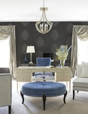 Home Office - charcoal wallpaper, velvet ottoman - plush