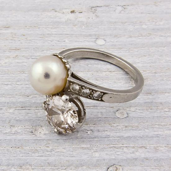 Diamond and Pearl Crossover  Vintage Engagement Ring