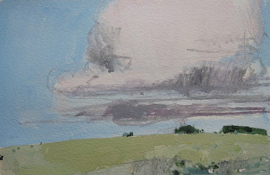 Evening Cloud, Original Landscape Painting on Paper, Stooshinoff.