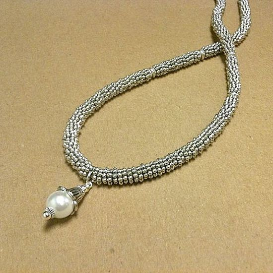 Pearl Necklace Silver Jewelry Designer Inspired June by cdjali, $14.00
