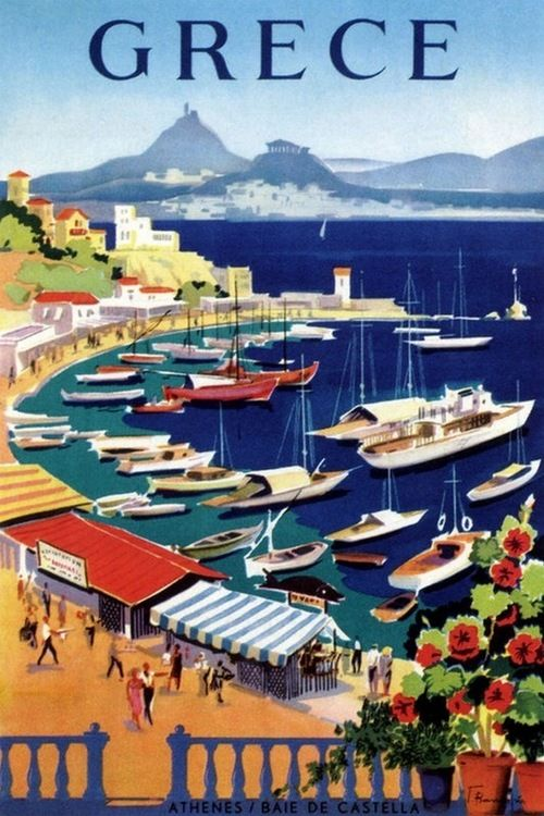 Greece vintage travel poster  boat marina and harbor