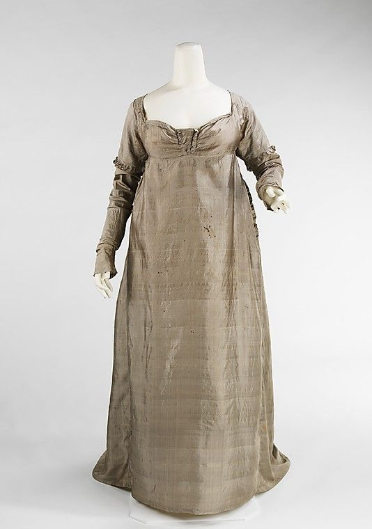 Evening Dress of Pastel Brown Silk with Gathered Bodice. American, c. 1805.