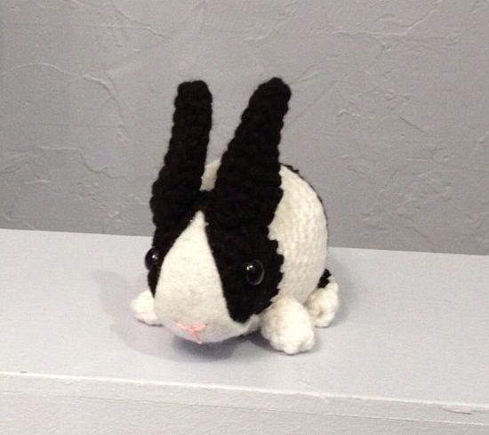Dutch Bunny  Black and White  Stuffed Animal  Amigurumi by meddywv, $18.00