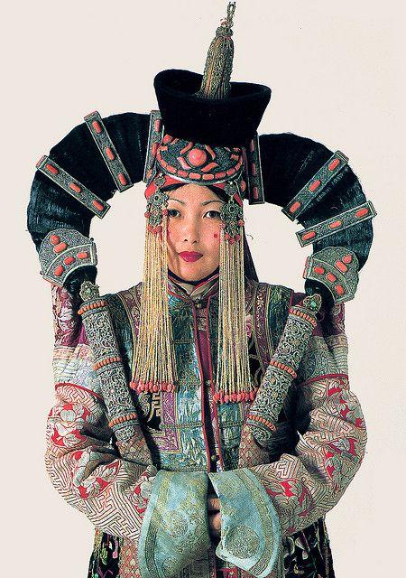 A Woman in a Khalkha Ethnic Costume Mongolia