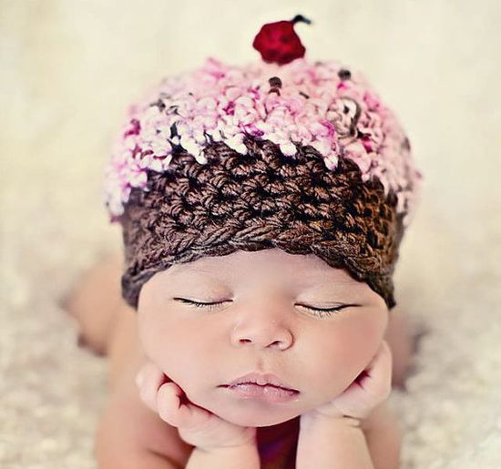 Newborn Baby Girl Photo Prop Cupcake Hat by MitziKnitz on Etsy, $22.00