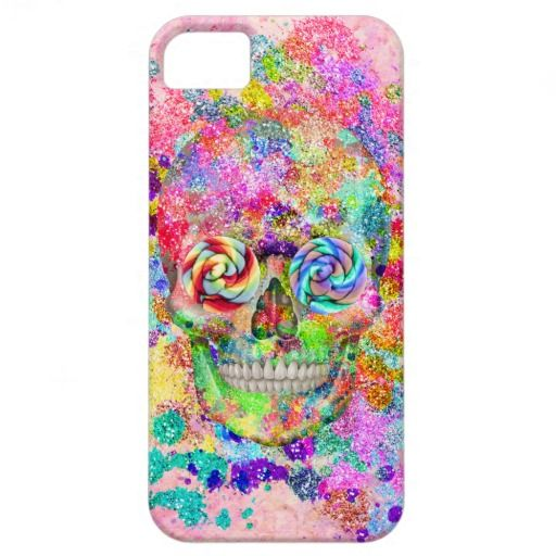 Girly Sugar Skull Pink Glitter Fine Art Paint iPhone 5 Cases