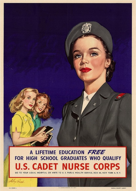 Two teenage girls appear to look on in admiration and interest at the Cadet nurse in this beautiful WW2 poster. The message here being of course that we're to think that they also dream of being nurses one day soon. #WW2 #nurse #vintage #forties #1940s #poster