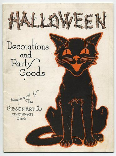 1920s 1930s 5.5in x 7.5in Early Gibson Halloween Decoration & Party Goods Catalog.  Awwwesome