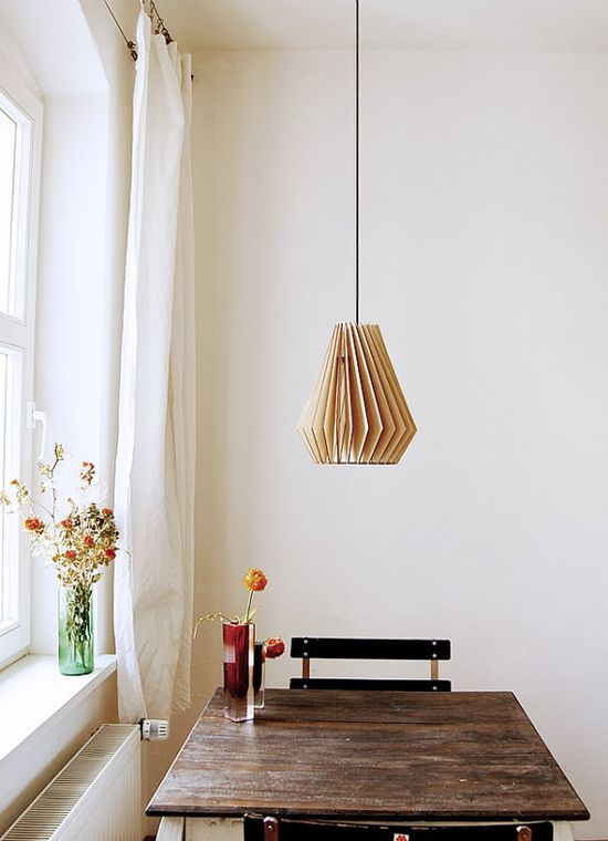 the coolest wooden hanging lamp.