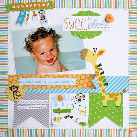 Baby boy layout by Kathy Martin (bella blvd blog)