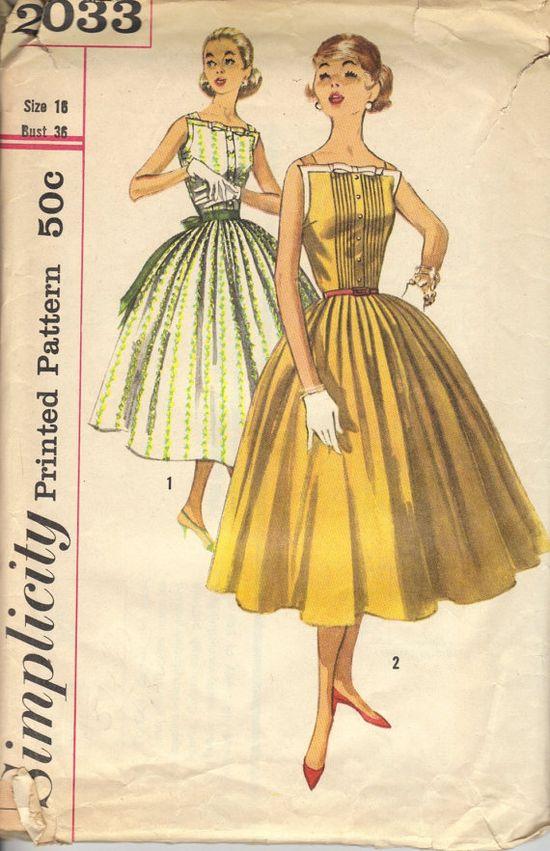 1950s Square Neck Dress Pattern