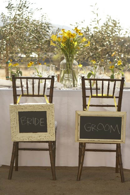 Chalkboards in distressed frames are a pretty, memorable alternative to basic place cards