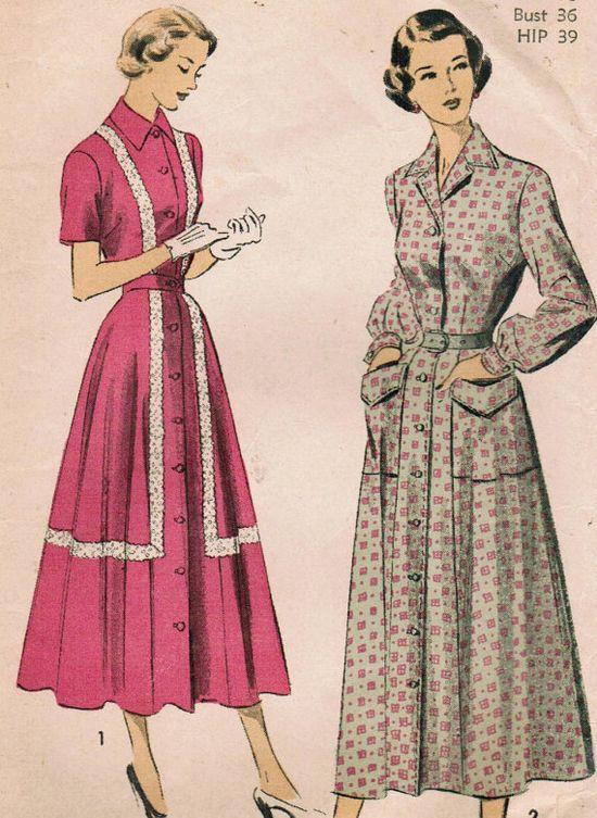 Lovely longer length 1940s dress styles (Advance 5156). #vintage #sewing #pattern #1940s
