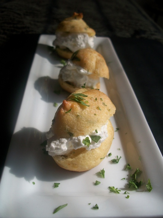 Lemon Parsley Gougere with Lemon-Sea Salt whipped cream