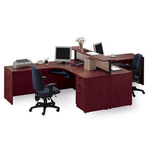 Home office desk for two with divider- Cherry Finish
