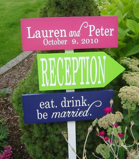 Wedding sign with lots of color