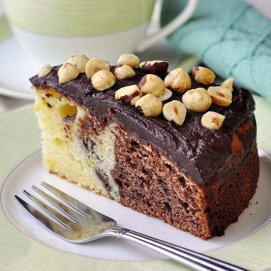 Chocolate Grand Marnier Sour Cream Coffee Cake - this indulgent coffee cake recipe works equally well as a terrific addition to a special brunch or as dessert to end and great meal.