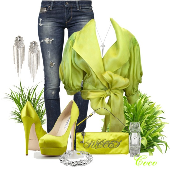 """Green and Jeans"" by coco-cris-1 ❤ liked on Polyvore"