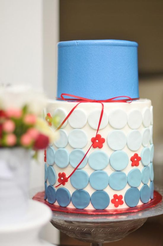 Adorable Blue & Red wedding cake...