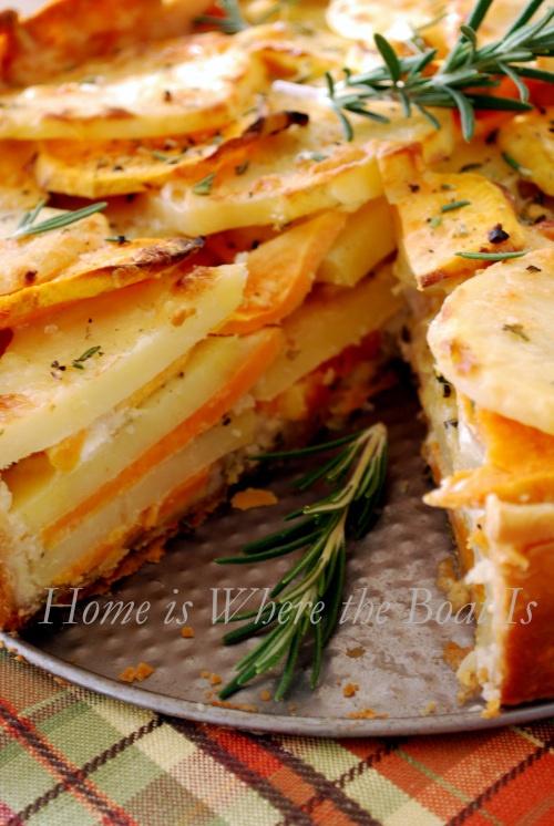 Potato Gratin with Yukon and Sweet Potatoes, Garlic, Gruyere Cheese and a Rosemary Crust....