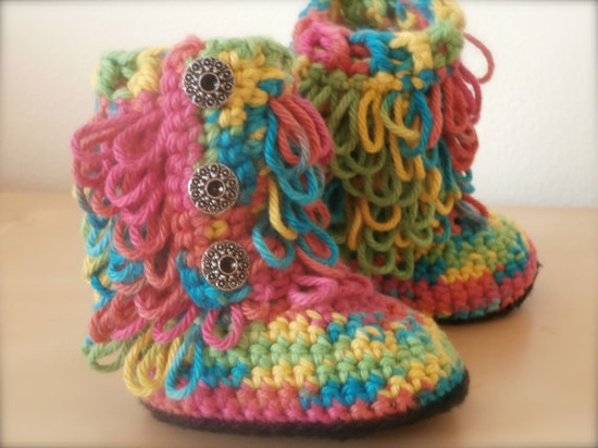 baby girl clothes rainbow ugg boots cute by stitchesbystephann, $28.00