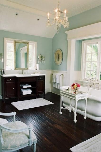 Bathroom, Tiffany blue and dark wood