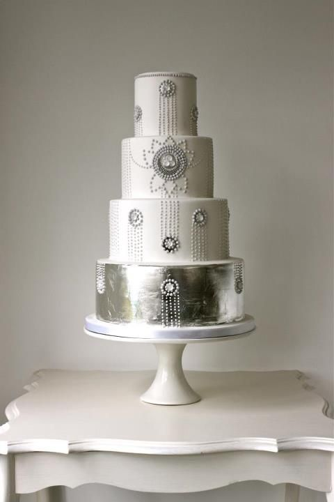 Art Deco Styled #wedding #cake #silver #white