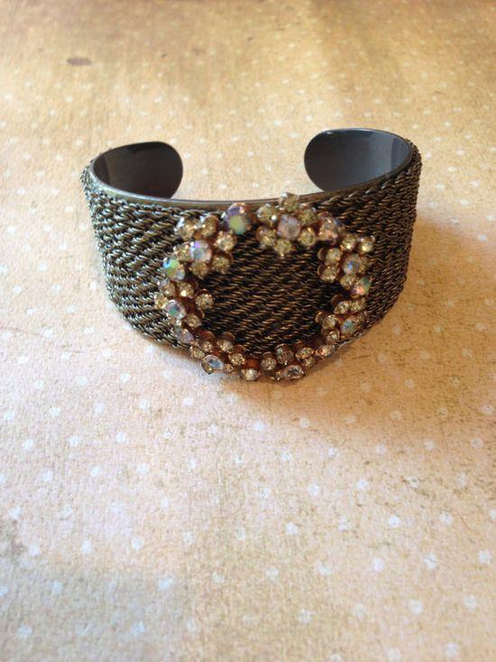 Vintage brooch cuff bracelet by JNPVintageJewelry on Etsy, $125.00