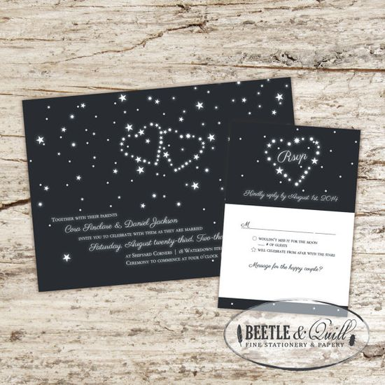 Cosmic Love Wedding Invitation Set by beetleandquill on Etsy, $50.00---in purple, I love these!