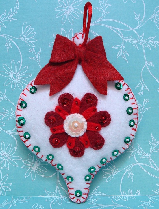 RTSWhite Felt Christmas Ornament with Sequins and by woolhearts, $7.00
