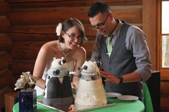 Bride and groom EXTERMINATE! their surprise Dalek wedding cakes
