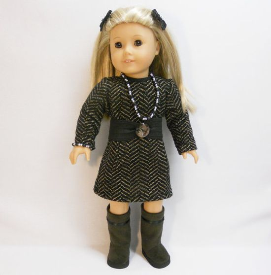 American Girl Doll Clothes Sweater Dress Black Brown Zizzags 3-in-1 dress plus Necklace and Bracelet $19.50  from MegOriGirls on etsy