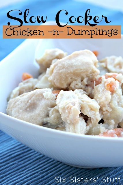 Slow Cooker Chicken and Dumplings from Sixsistersstuff.com #slowcooker #chicken #recipe