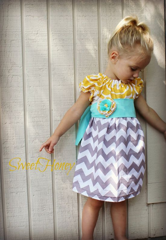 It's back!! Available NOW!  Little girls vintage modern grey yellow chevron dress.   Perfect for spring!  SweetHoney Yellow Grey Aqua Blue Chevron Girls by SweetHoney2, $48.00