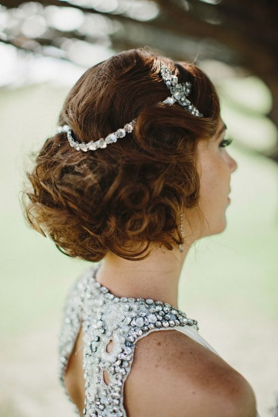 Jenny Packham gown and vintage hair accessories // photo by Lev Kuperman