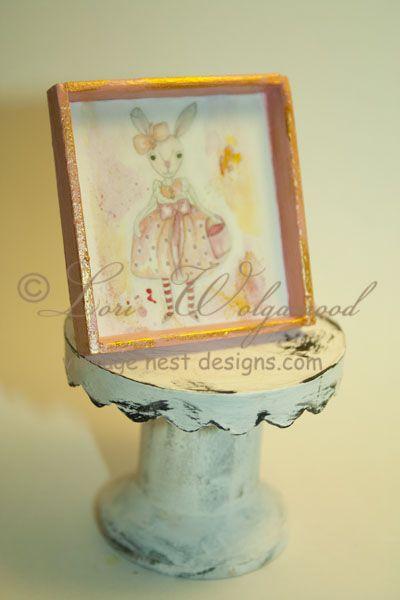 Priminitve Rabbit Pink Framed Print Miniature Doll House - Vintage Nest Designs, Creative Handmade and Hand Painted Designs