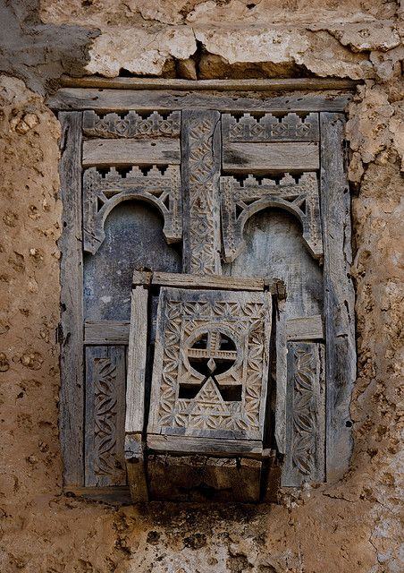 Old wooden window in Mirbat, Oman