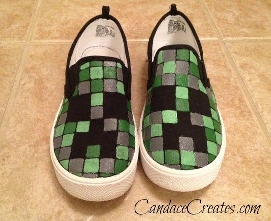 DIY Minecraft Creeper Shoes