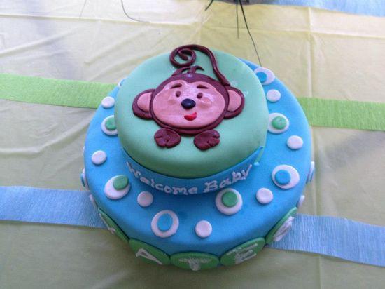 Baby Monkey Shower Cake