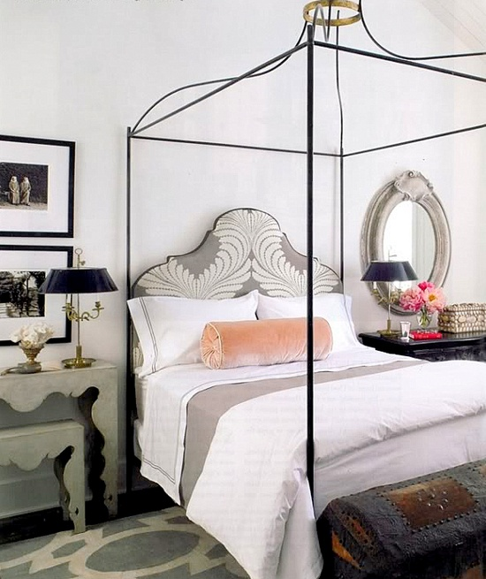 Bedroom interior design and decor ideas - Feminine_ classical_ pink_ grey_white - neutral