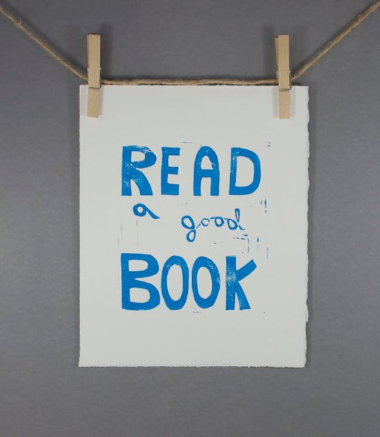 Typographic Read a Good Book Linocut PRINT Light by RetroModernArt, $20.00