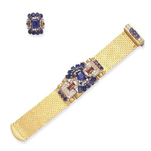 A SET OF RETRO SAPPHIRE, DIAMOND AND RUBY JEWELRY, BY VAN CLEEF & ARPELS  Comprising a textured gold brick link bracelet, the central domed plaque, centering upon a cushion-cut sapphire, within a vari-cut sapphire and diamond surround, to the square-cut ruby arched links, joined to pavé-set diamond and cushion-cut sapphire plaques, the clasp of similar design; and a ring en suite, mounted in gold, circa 1940, bracelet 7½ ins.  Signed Van Cleef & Arpels, nos. NY 1110, 648