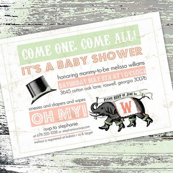 Vintage Circus Elephant Baby Shower invitation by PaperFinchDesign, $15.00