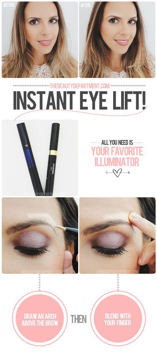 DIY Instant Eye Lift girl makeup make up diy diy ideas do it yourself easy diy cosmetics diy tips diy makeup diy fashion diy tutorials eyebrows eye light