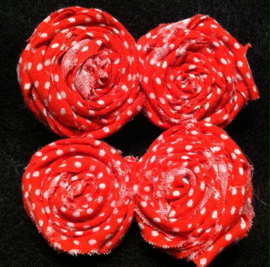 Red & White Polkadots handmade flowers clips