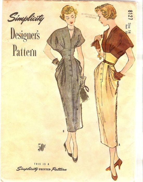 1940s Afternoon Dress Pattern Dinner Dress by CherryCorners, $85.00