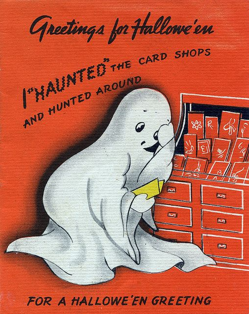 I haunted the cards shops and hunted around for a Halloween greeting... #vintage #ghost #Halloween #card #1940s