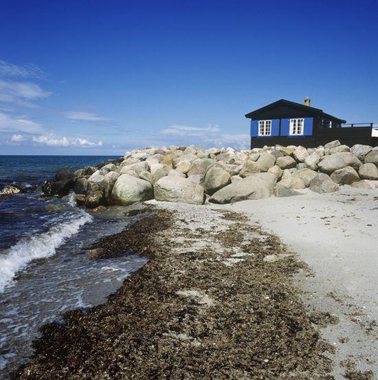 Blue sky, blue sea, blue cottage